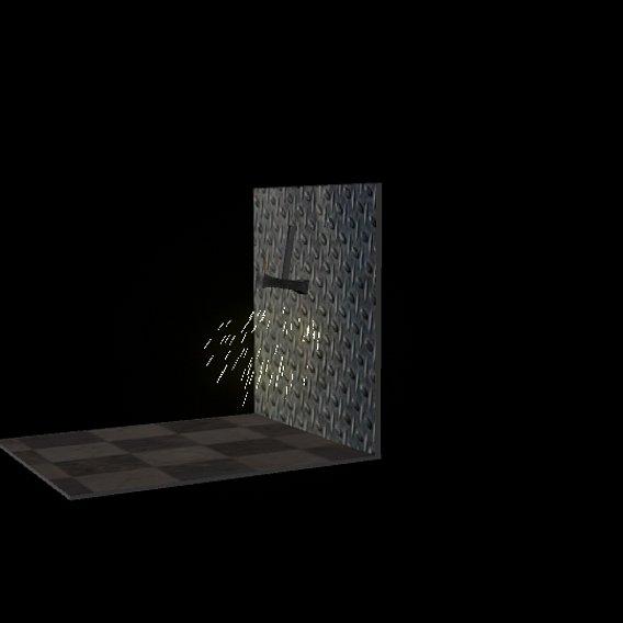spark on steel wall