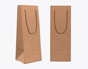 Paper bag slim with string handle 01 3D model