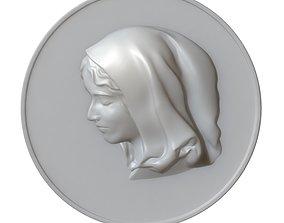 3D printable model Maria Virgin Cameo Brooche 07