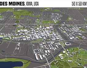 De Moines Iowa USA 50x50km 3D