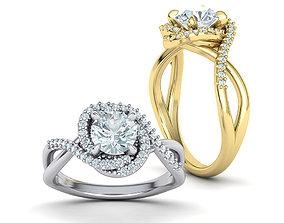 Bypass Engagement ring 1ct Stone 3dmodel australia