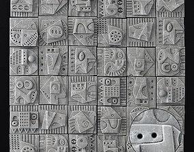 Wall tile decorative pattern hieroglyph n1 3D model