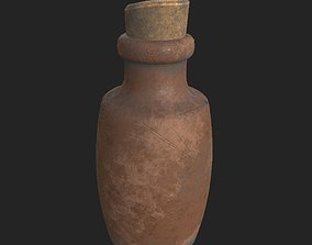 3D model small clay bottle PBR low poly