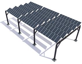 3D asset Elevated pv solar panel array construction