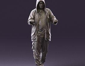 001022 man in fool black jacket with hood 3D Print Ready