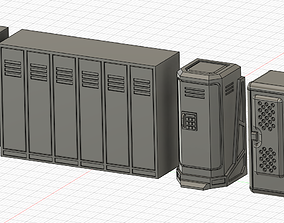 Sci-fi wargame lockers 3D print model