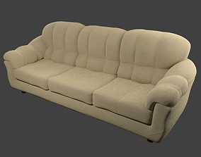 Couch - Tan Microfiber 3D model