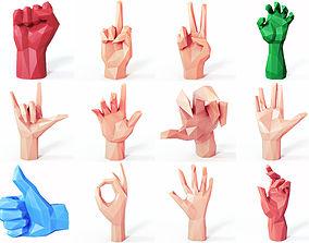 3D asset Hands SET Low Poly