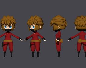 Low Poly Chibi Ninja Woman 3 Character 3D asset