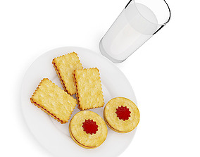 sweets 3D model Biscuits with Milk
