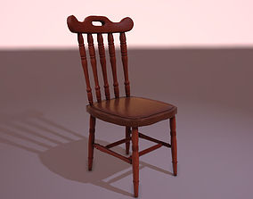 3D model game-ready Wooden Chair