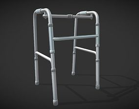 3D model Disabled four-legged crutch old man walker