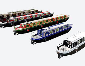 English Canal Boats collection 3D