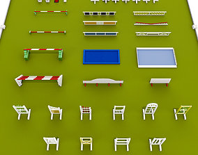 Horse jumping obstacle small pack low poly 3D