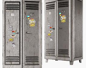 Metal locker grey 3D