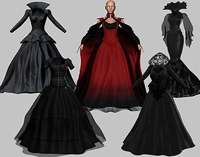 3D model 5 Victorian Gothic Dresses Collection