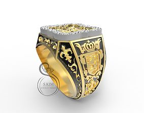 Man ring with pattern and lion emblem 3D print model