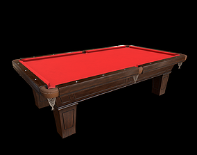 Billiard - Pool table and cue stand 3D model low-poly