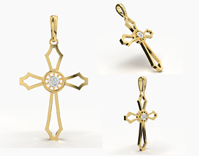 3D printable model metallic JESUS CROSS DIAMOND PENDANT