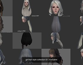 3D model girl hair style collection 01