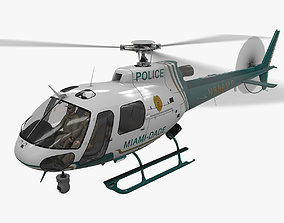 AS-350 Miami Dade Police Animated 3D model