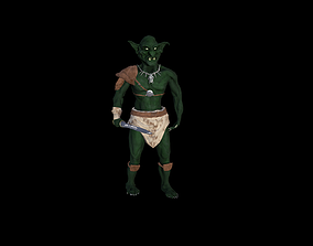 animated game-ready Goblin Warrior Low Poly 3D Model