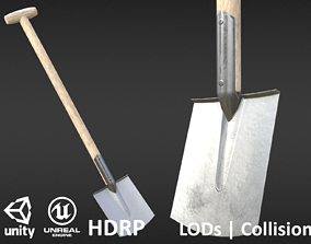 Game-ready Clean Shovel - Unity - HDRP - UE4 3D asset