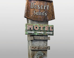 Wheatered Motel Sign 3D model