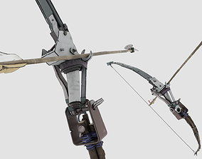game-ready Crafted Bows and Arrows - wood and metal 3D