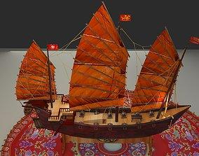 Chinese junk ship warship 3D