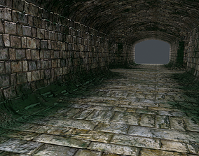 3D asset low-poly catacomb tunnel