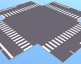 Cartoon roads elements 3D model