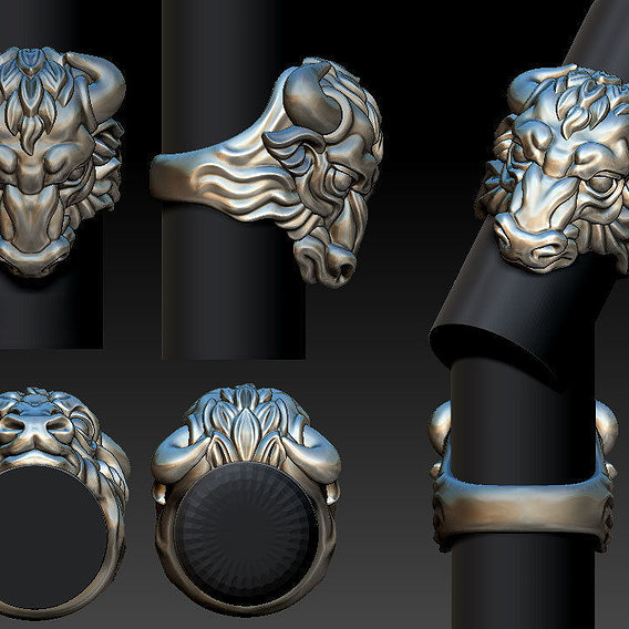 A simple ring with a bull's head