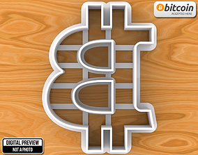 Bitcoin Sign Emblem Logo Cookie Cutter 3D print model