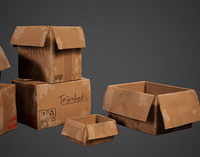 Cardboard Set Low Poly Game Ready 3D asset