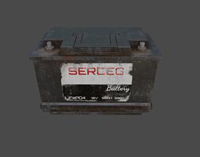 3D model Old Rusty Car Battery