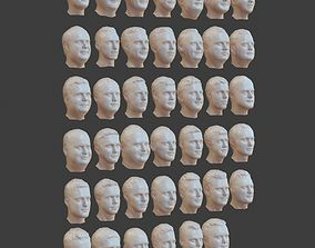 41 Realistic Male Character Heads 3D model