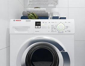 Washing machine with decor 3D model