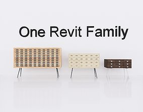 3D model Wardrobe 3 - Revit Family Full
