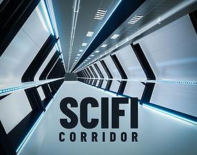 3D model low-poly Scifi Corridor