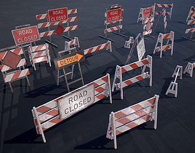 3D model Barricade and Signs - set