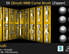 10 Zbrush IMM Curve Brush - zipper 3D