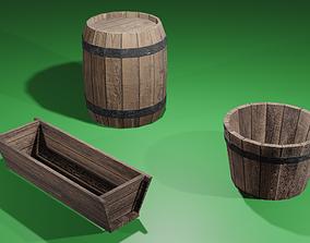Wooden Barrel Trough and Tub 3D asset