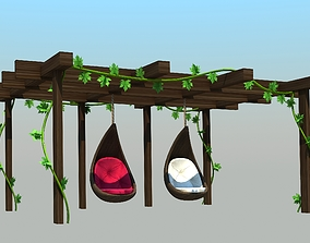 Pergole with swing animation - Low poly 3D asset