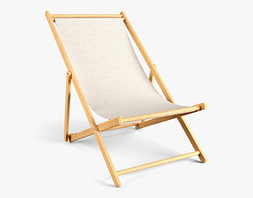3D model fold Wood Beach Chair