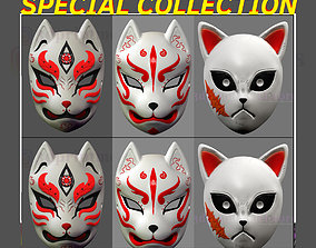 Japanese Fox Mask Demon Kitsune Special Collection 3D
