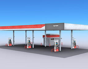 car Gas Station 3D model game-ready