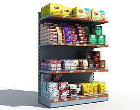 Supermarket Shelves Tea and Coffee 3D model