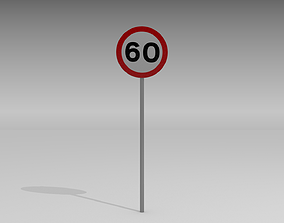 60 speed limit sign 3D model