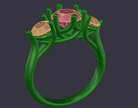 3D print model CC39- Trilogy Engagement Ring CAD